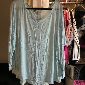 Light blue bedazzled long sleeve shirt